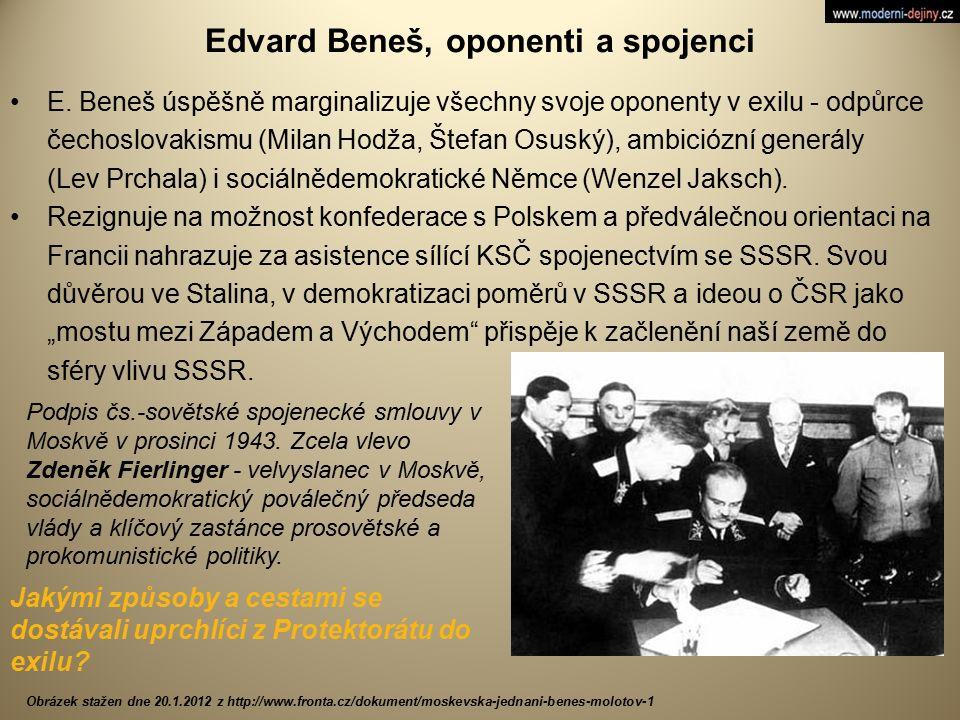 Edvard Beneš, oponenti a spojenci