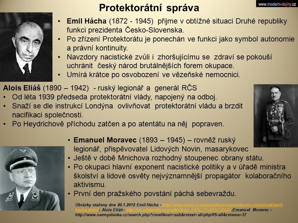 Protektorátní správa Emil Hácha (1872 - 1945) přijme v obtížné situaci Druhé republiky funkci prezidenta Česko-Slovenska.