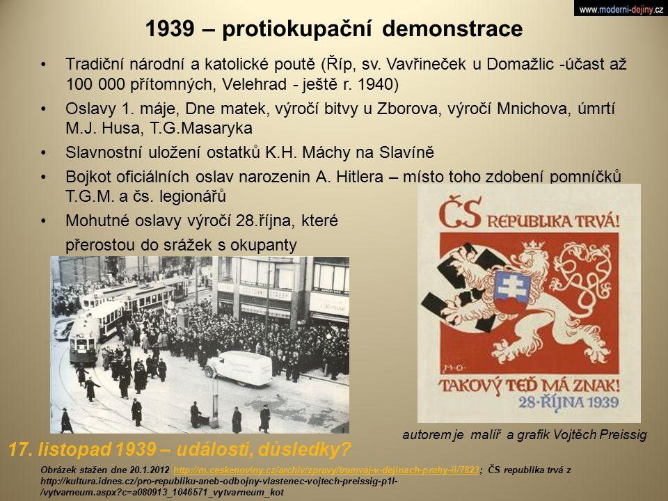 1939 – protiokupační demonstrace