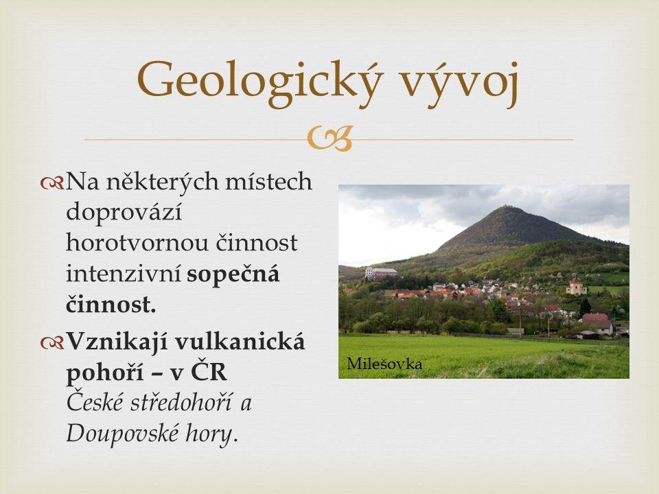 Geologický vývoj Na některých místech doprovází horotvornou činnost intenzivní sopečná činnost.