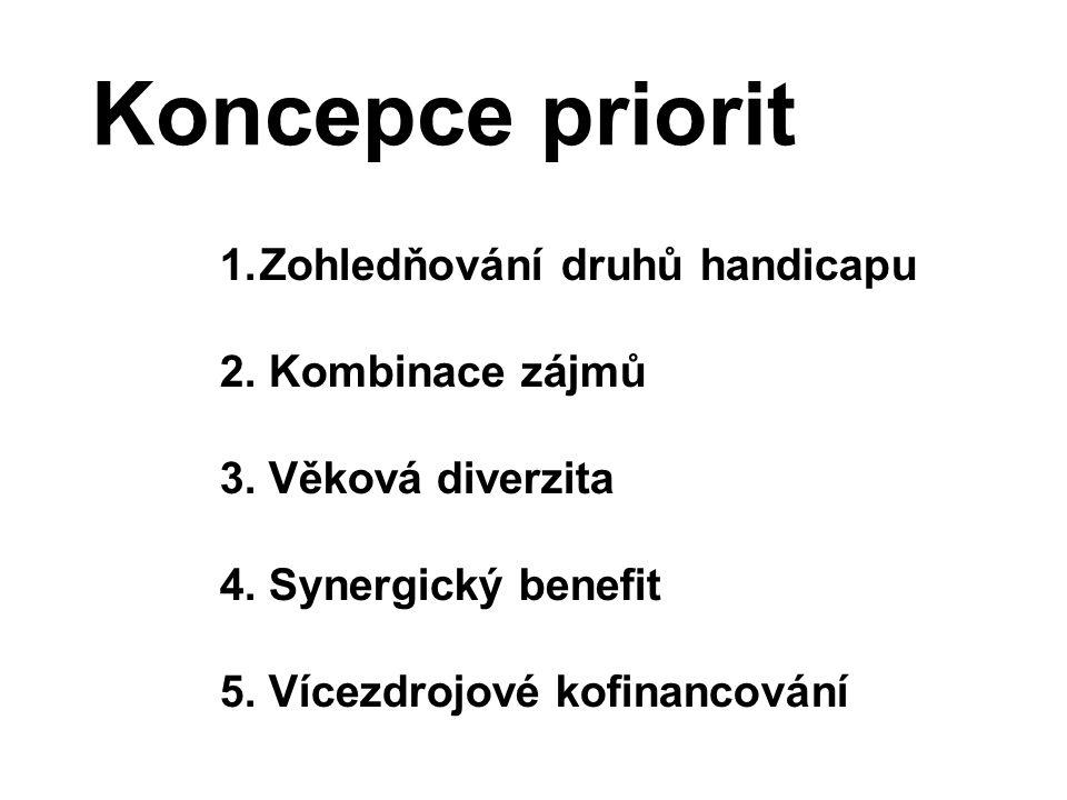 Koncepce priorit Zohledňování druhů handicapu 2. Kombinace zájmů