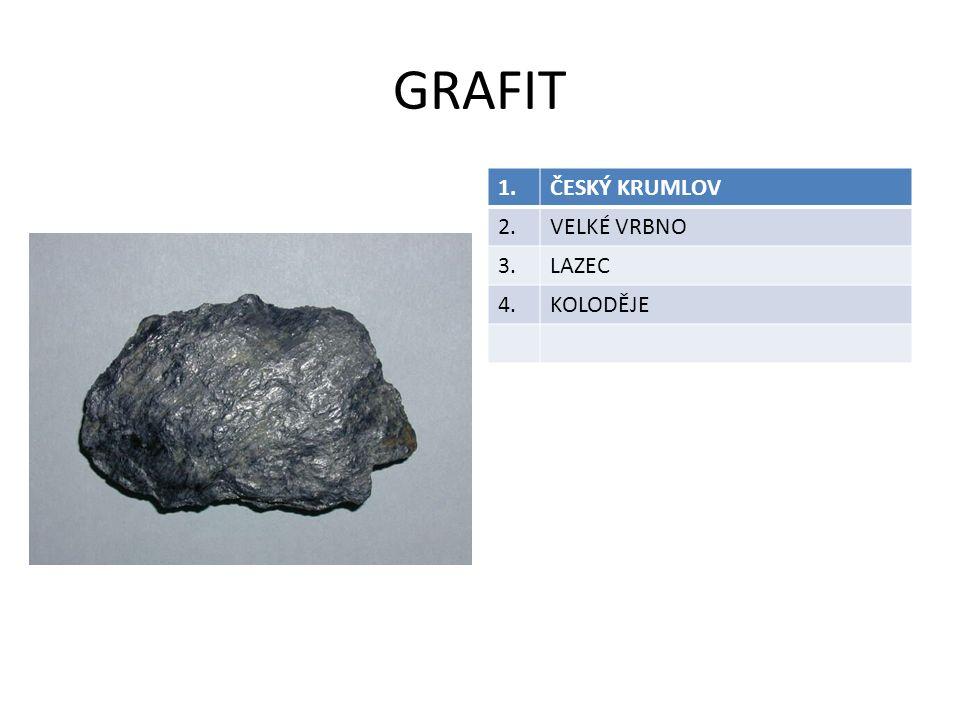 GRAFIT 1. ČESKÝ KRUMLOV 2. VELKÉ VRBNO 3. LAZEC 4. KOLODĚJE