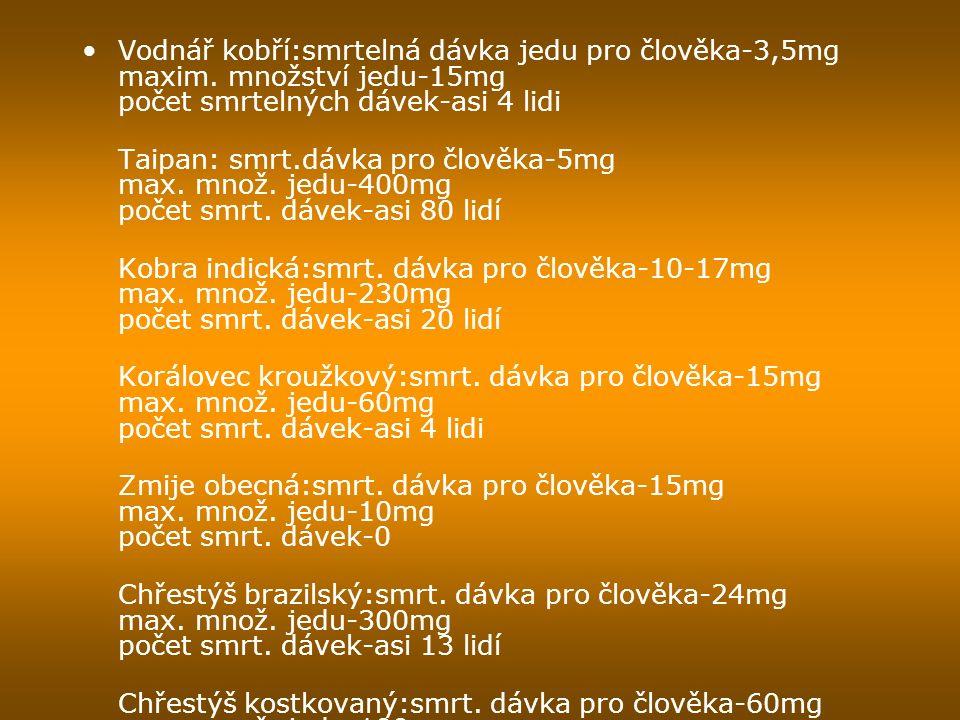 Vodnář kobří:smrtelná dávka jedu pro člověka-3,5mg maxim