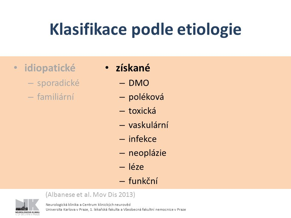 Klasifikace podle etiologie