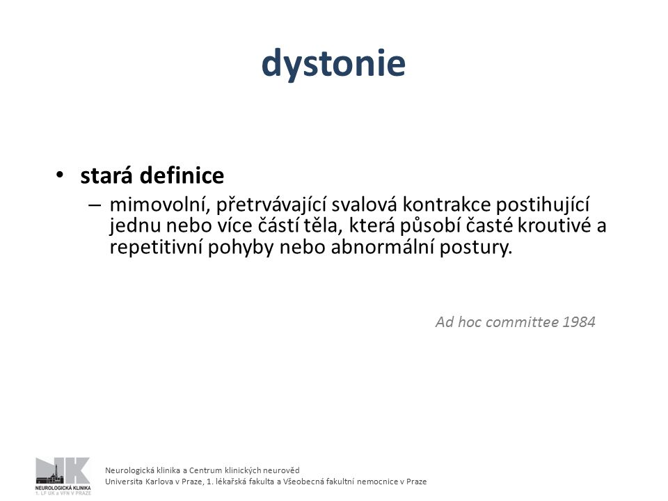 dystonie stará definice