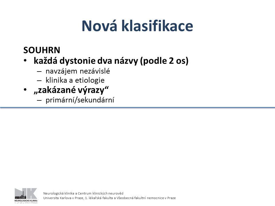 Nová klasifikace SOUHRN každá dystonie dva názvy (podle 2 os)