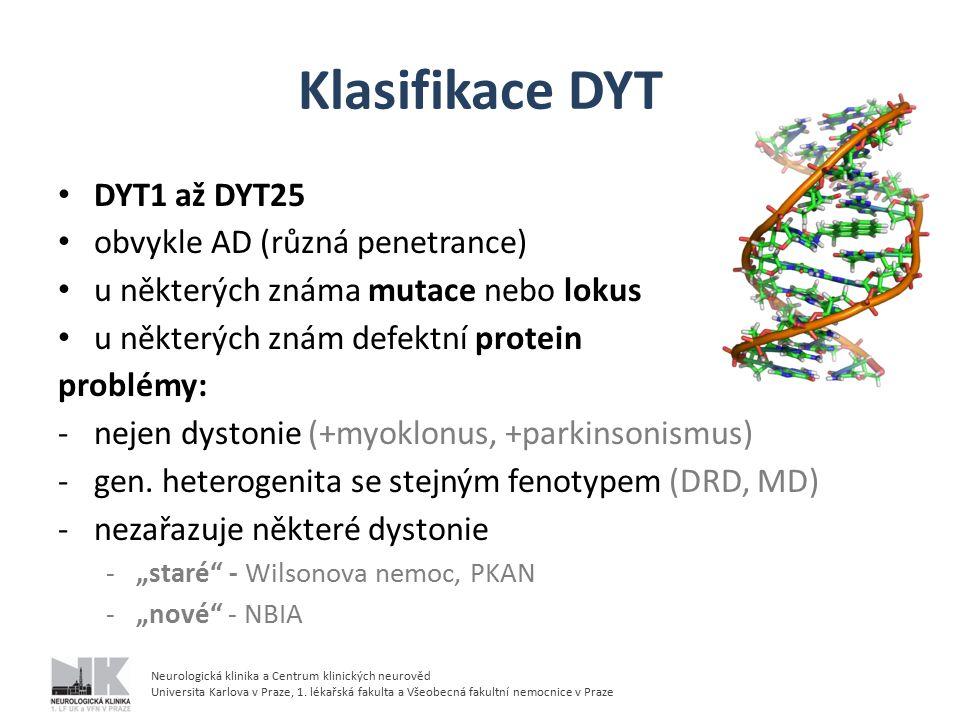 Klasifikace DYT DYT1 až DYT25 obvykle AD (různá penetrance)