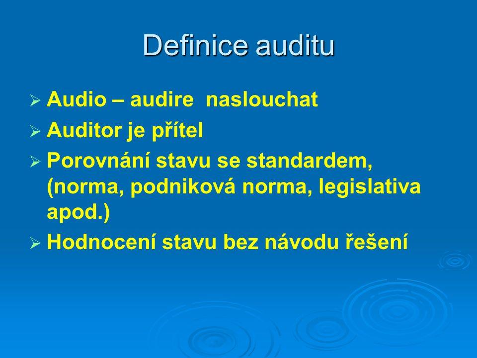 Definice auditu Audio – audire naslouchat Auditor je přítel
