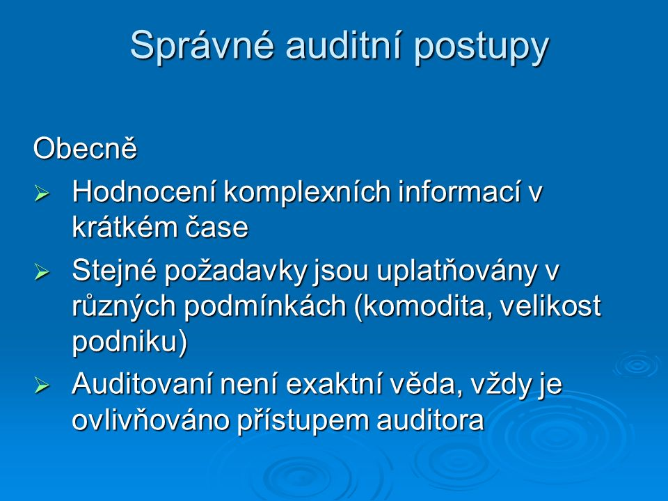 Správné auditní postupy