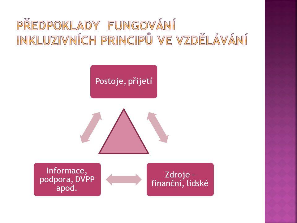 Předpoklady fungování inkluzivních principů ve vzdělávání