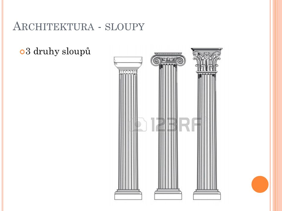 Architektura - sloupy 3 druhy sloupů