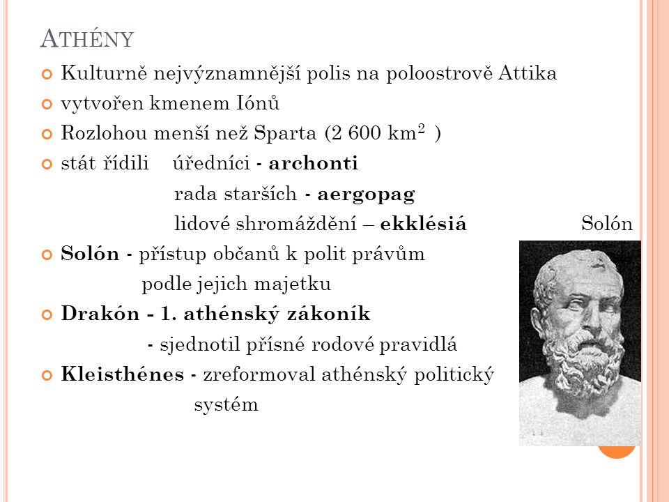 Athény Kulturně nejvýznamnější polis na poloostrově Attika