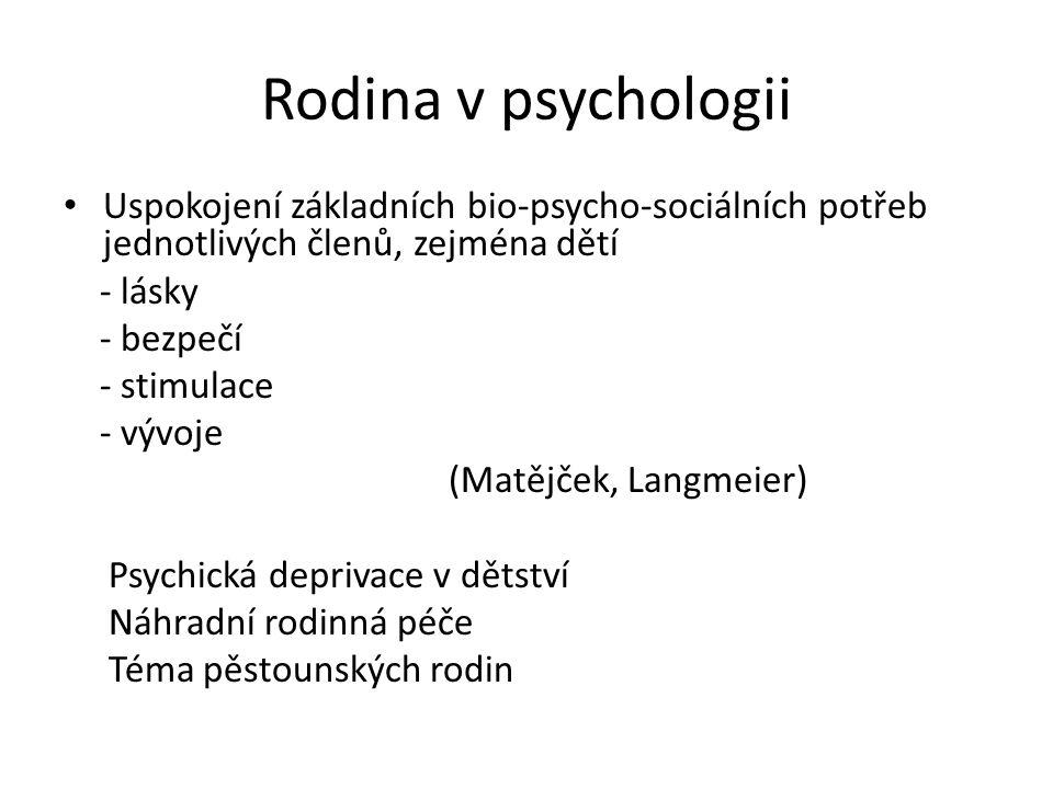 Rodina v psychologii Uspokojení základních bio-psycho-sociálních potřeb jednotlivých členů, zejména dětí.