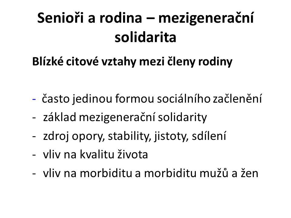 Senioři a rodina – mezigenerační solidarita