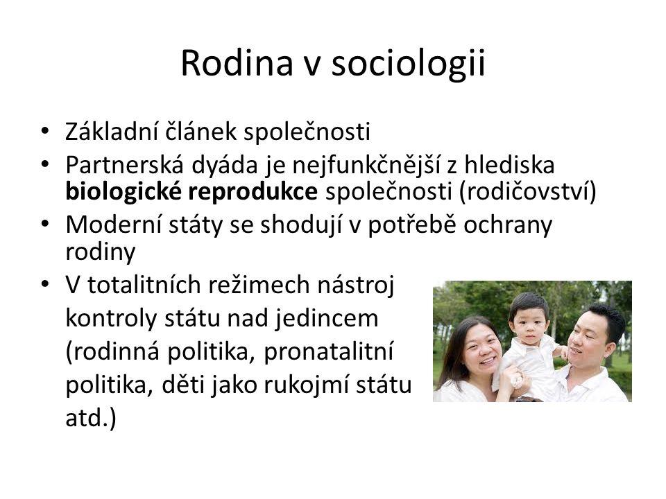 Rodina v sociologii Základní článek společnosti