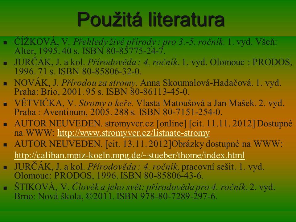 Použitá literatura ČÍŽKOVÁ, V. Přehledy živé přírody : pro 3.-5. ročník. 1. vyd. Všeň: Alter, 1995. 40 s. ISBN 80-85775-24-7.