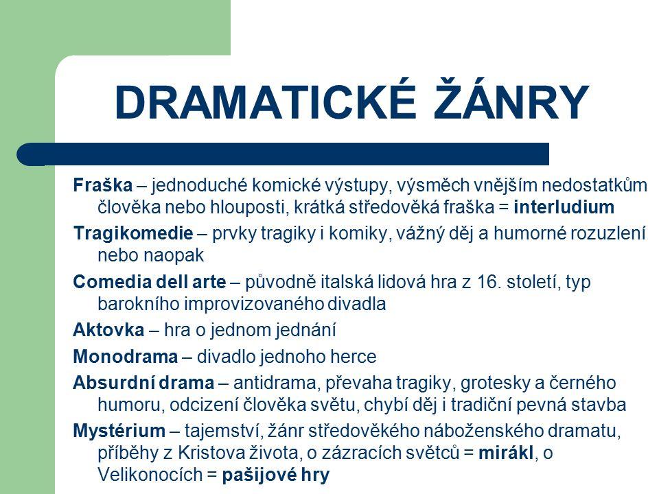 DRAMATICKÉ ŽÁNRY Fraška – jednoduché komické výstupy, výsměch vnějším nedostatkům člověka nebo hlouposti, krátká středověká fraška = interludium.