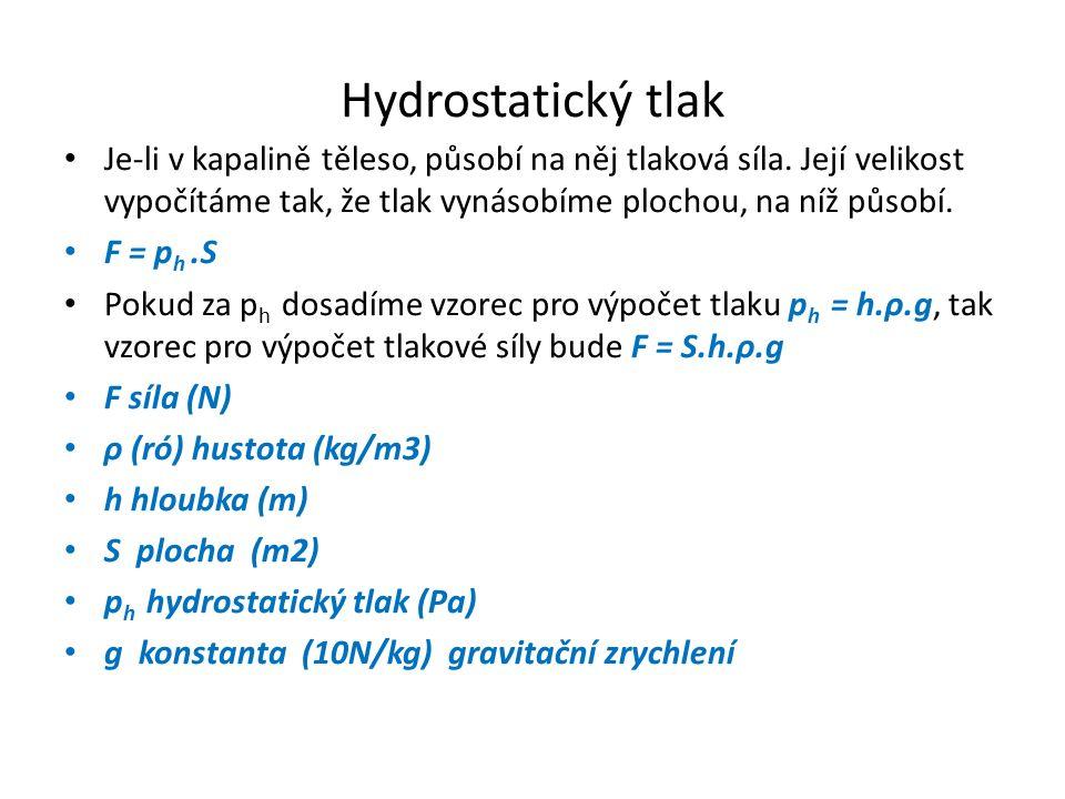 Hydrostatický tlak Je-li v kapalině těleso, působí na něj tlaková síla. Její velikost vypočítáme tak, že tlak vynásobíme plochou, na níž působí.