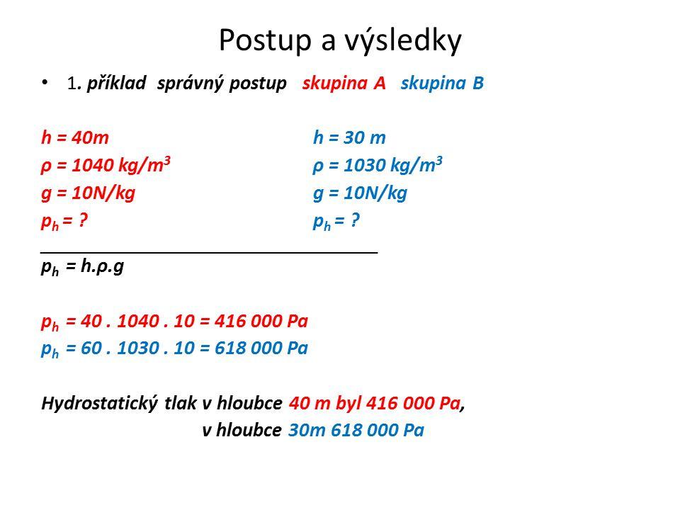 Postup a výsledky 1. příklad správný postup skupina A skupina B