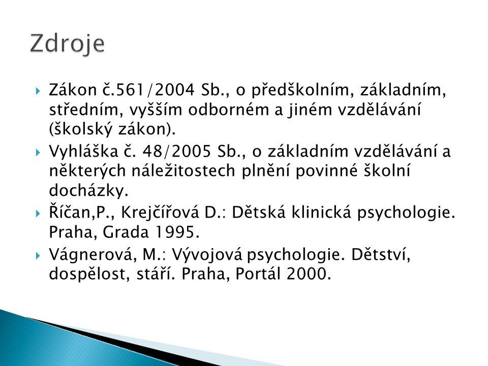 Zdroje Zákon č.561/2004 Sb., o předškolním, základním, středním, vyšším odborném a jiném vzdělávání (školský zákon).