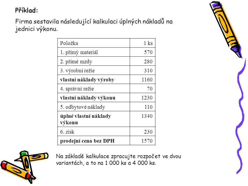 Příklad: Firma sestavila následující kalkulaci úplných nákladů na jednici výkonu. Položka. 1 ks. 1. přímý materiál.