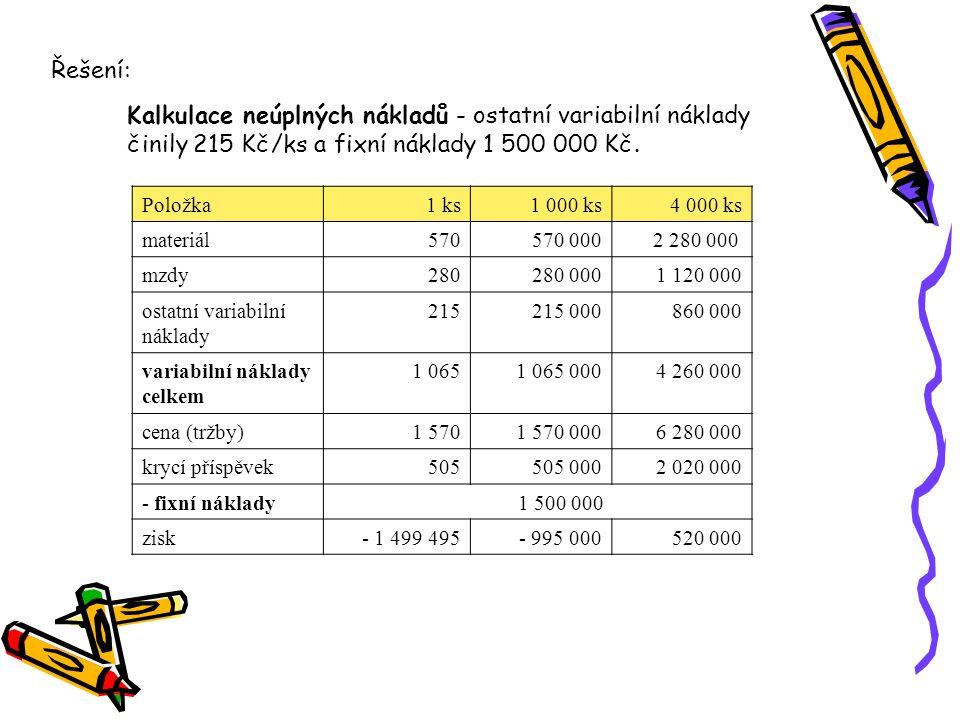 Řešení: Kalkulace neúplných nákladů - ostatní variabilní náklady činily 215 Kč/ks a fixní náklady 1 500 000 Kč.