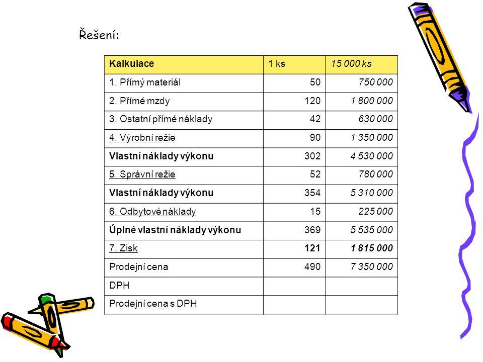 Řešení: Kalkulace 1 ks 15 000 ks 1. Přímý materiál 50 750 000