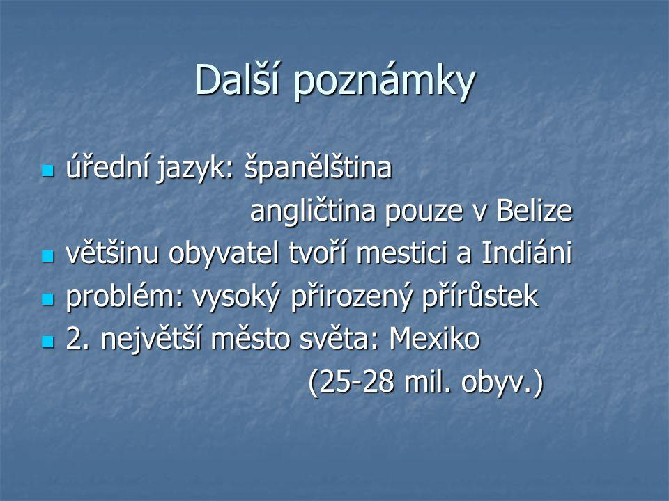 Další poznámky úřední jazyk: španělština angličtina pouze v Belize