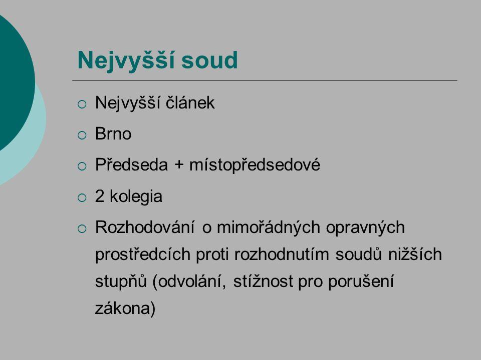 Nejvyšší soud Nejvyšší článek Brno Předseda + místopředsedové