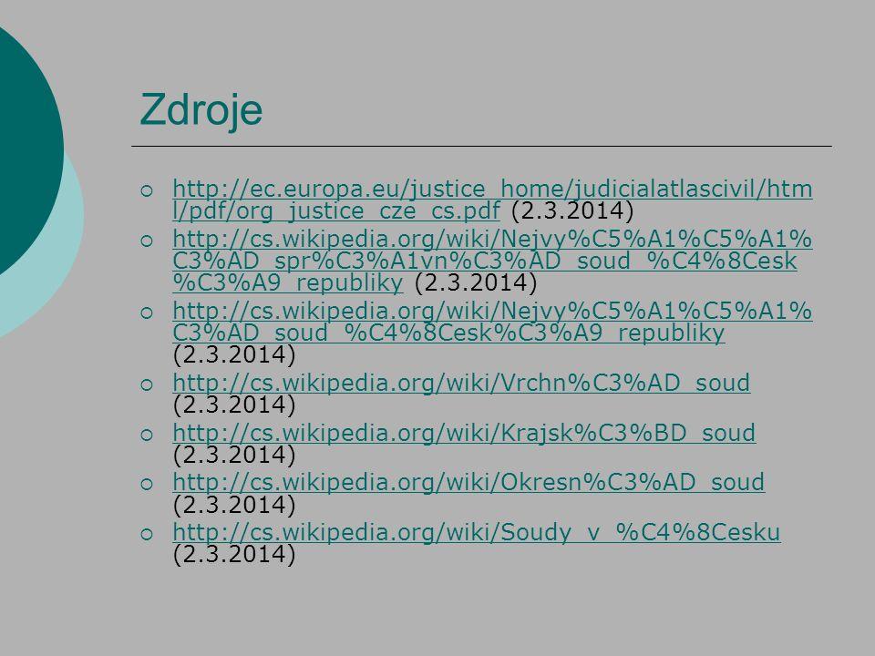 Zdroje http://ec.europa.eu/justice_home/judicialatlascivil/html/pdf/org_justice_cze_cs.pdf (2.3.2014)
