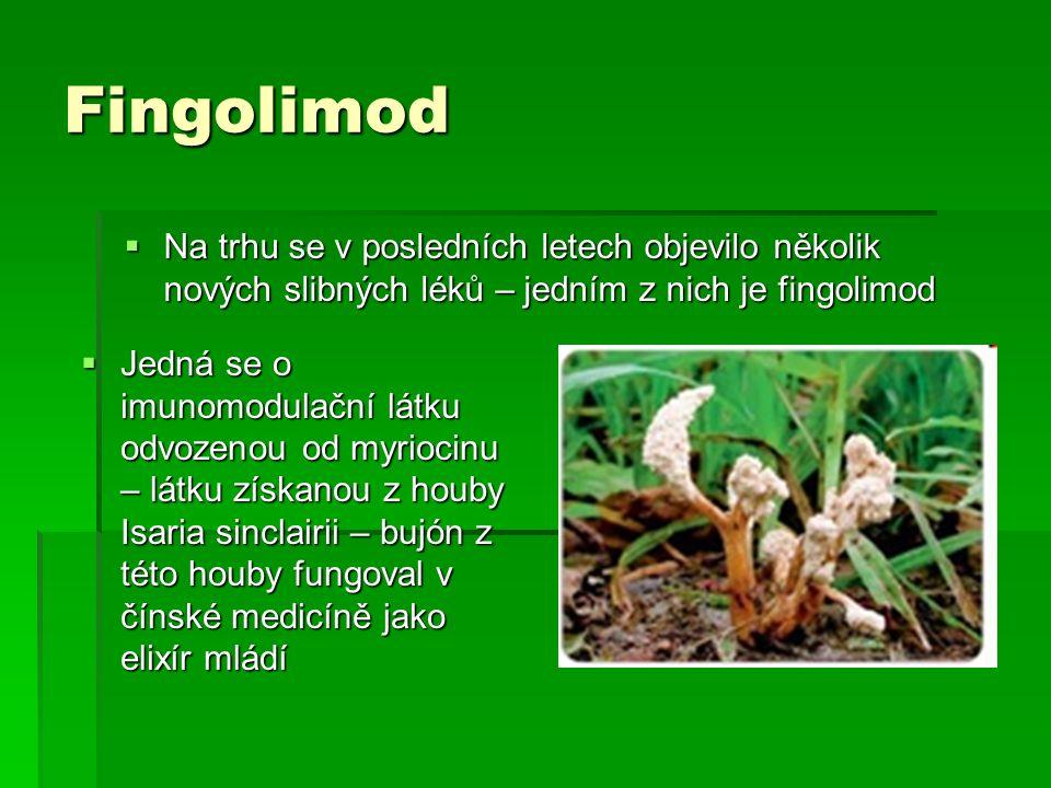 Fingolimod Na trhu se v posledních letech objevilo několik nových slibných léků – jedním z nich je fingolimod.