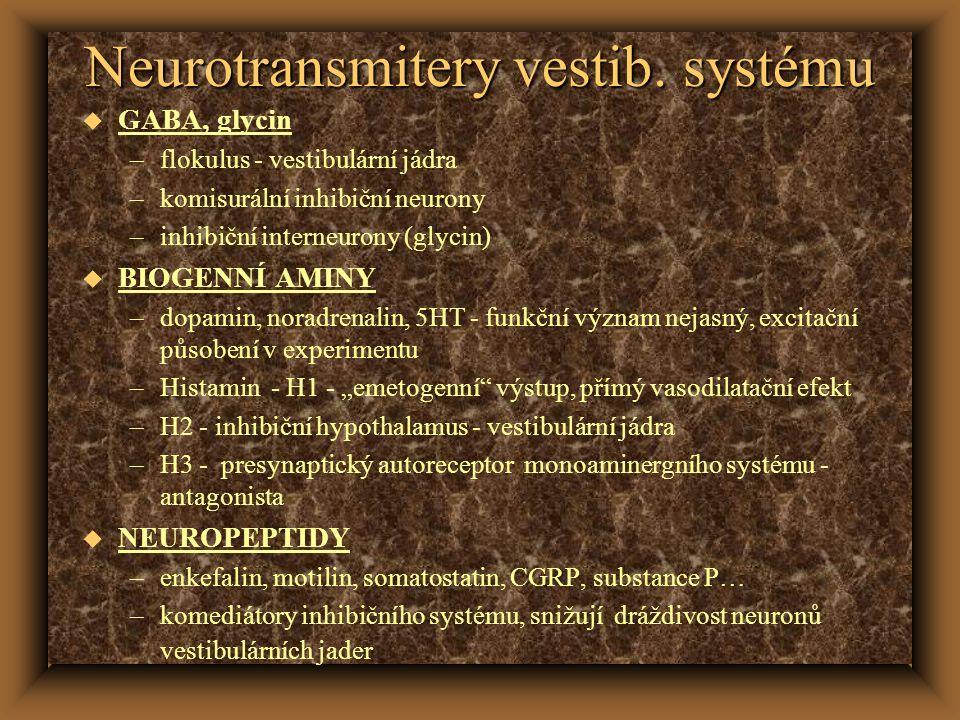 Neurotransmitery vestib. systému