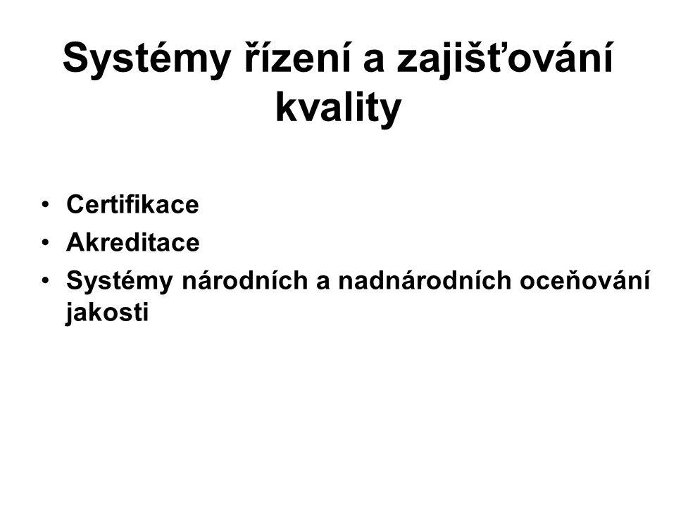 Systémy řízení a zajišťování kvality