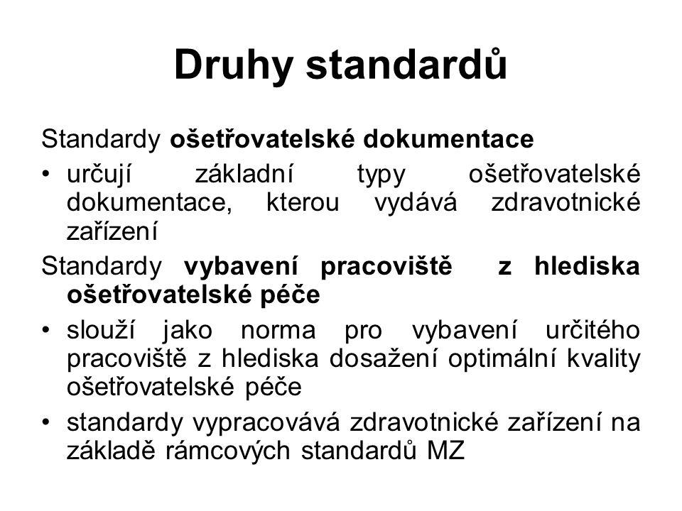 Druhy standardů Standardy ošetřovatelské dokumentace