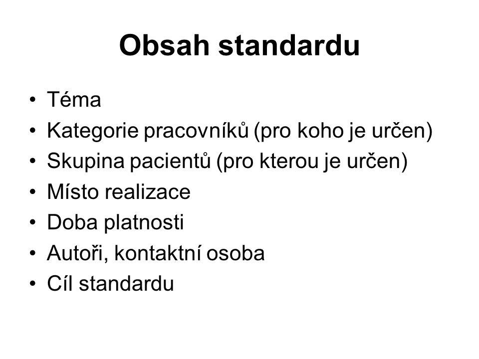Obsah standardu Téma Kategorie pracovníků (pro koho je určen)