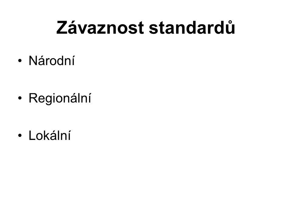 Závaznost standardů Národní Regionální Lokální