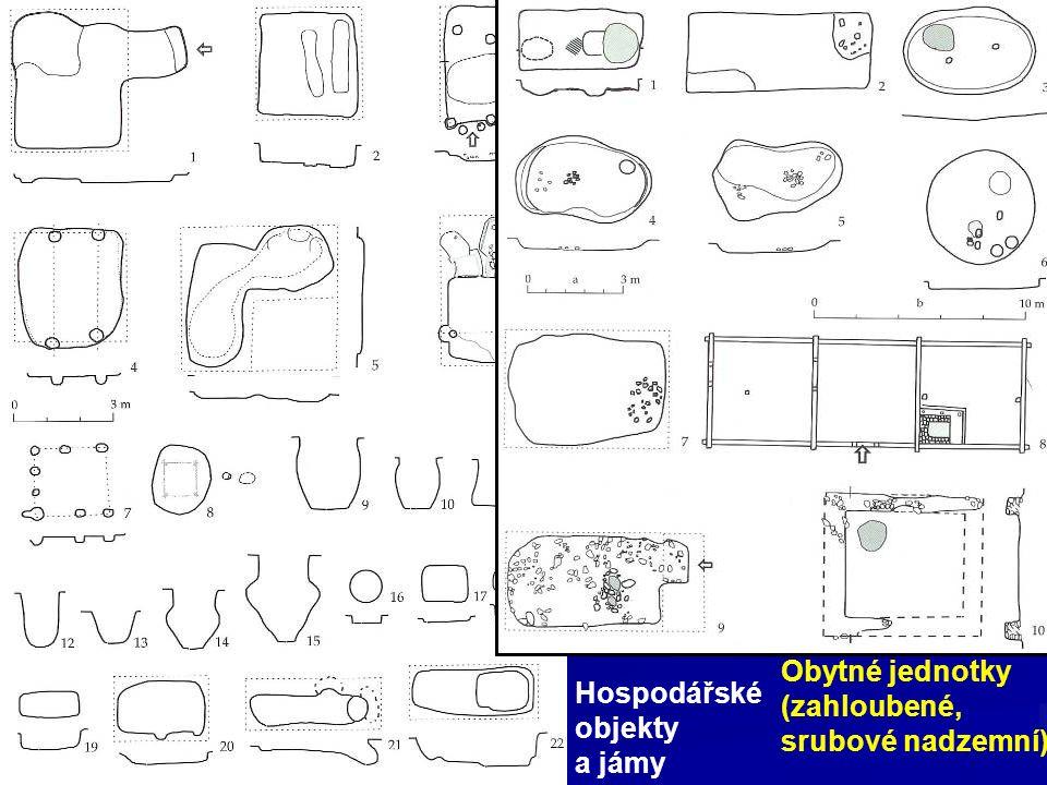 Obytné jednotky (zahloubené, srubové nadzemní) Hospodářské objekty a jámy