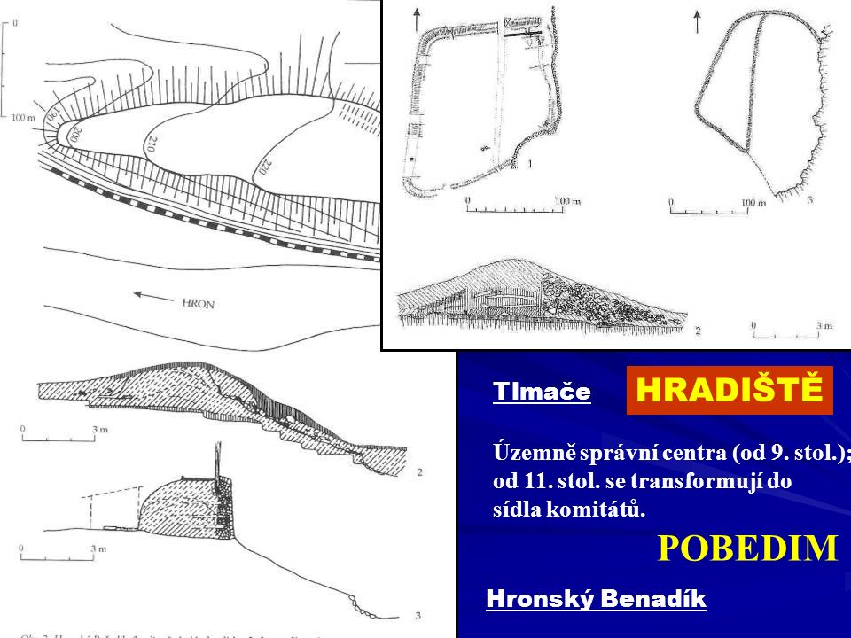 POBEDIM HRADIŠTĚ Tlmače Územně správní centra (od 9. stol.);