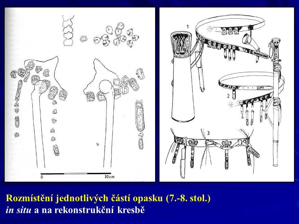 Rozmístění jednotlivých částí opasku (7.-8. stol.)