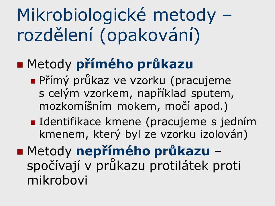 Mikrobiologické metody – rozdělení (opakování)