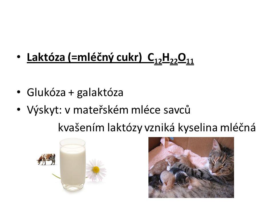 Laktóza (=mléčný cukr) C12H22O11