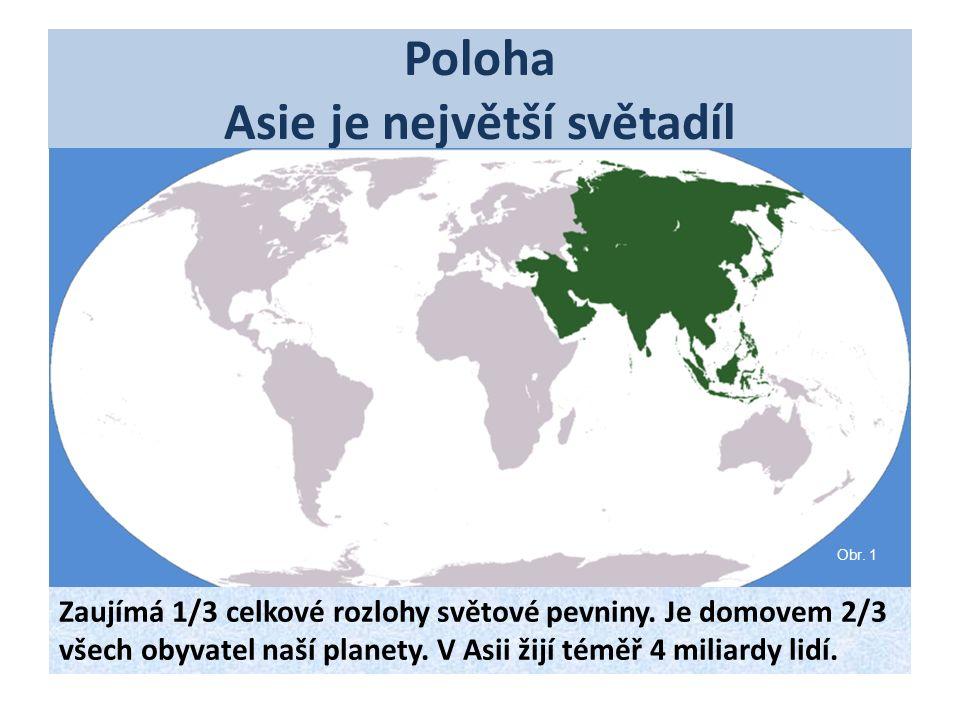Poloha Asie je největší světadíl