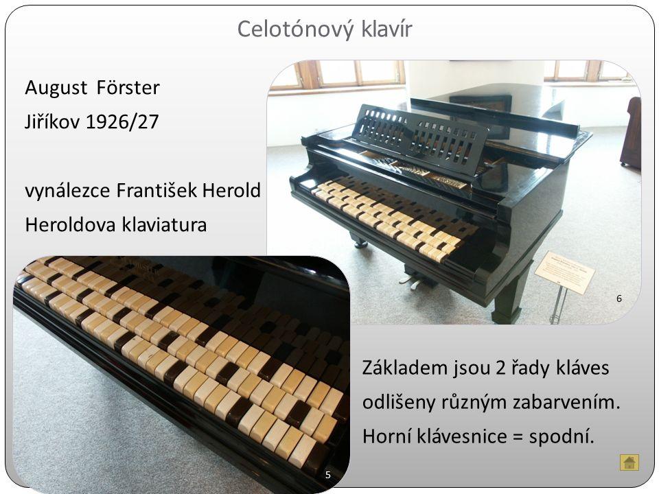 Celotónový klavír August Förster Jiříkov 1926/27