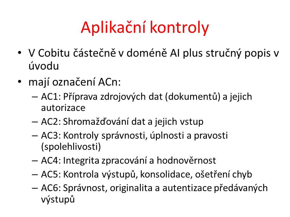 Aplikační kontroly V Cobitu částečně v doméně AI plus stručný popis v úvodu. mají označení ACn: