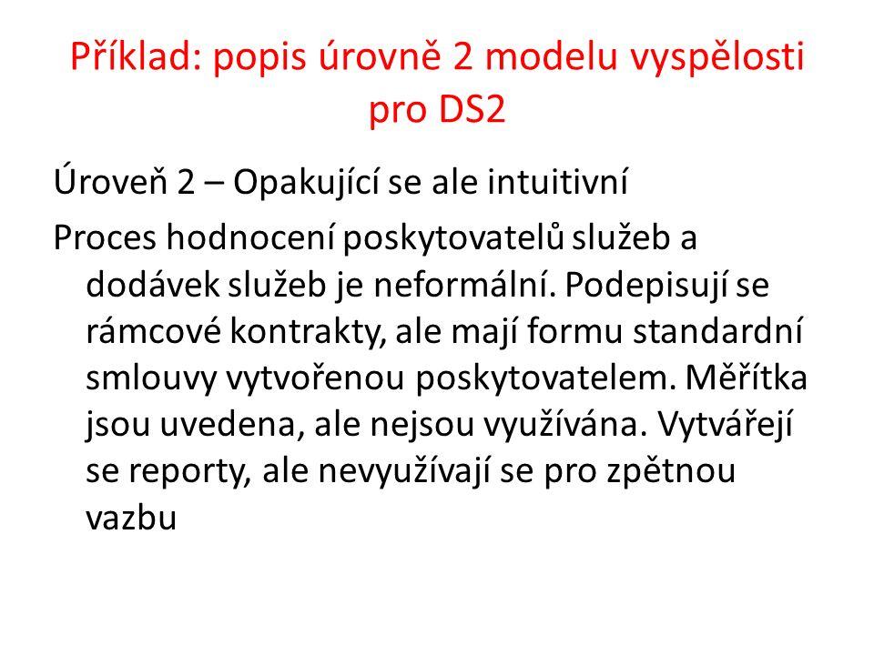 Příklad: popis úrovně 2 modelu vyspělosti pro DS2