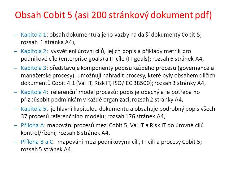 Obsah Cobit 5 (asi 200 stránkový dokument pdf)