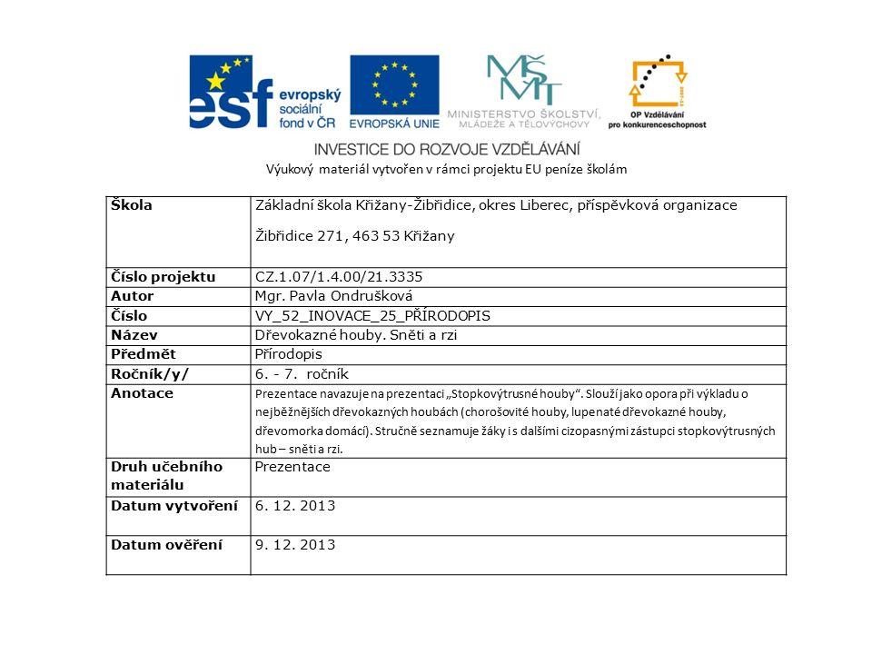 Výukový materiál vytvořen v rámci projektu EU peníze školám