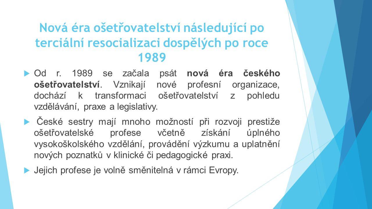 Nová éra ošetřovatelství následující po terciální resocializaci dospělých po roce 1989