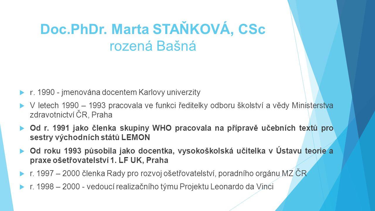 Doc.PhDr. Marta STAŇKOVÁ, CSc rozená Bašná