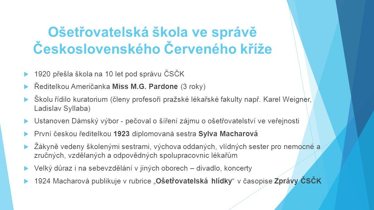 Ošetřovatelská škola ve správě Československého Červeného kříže